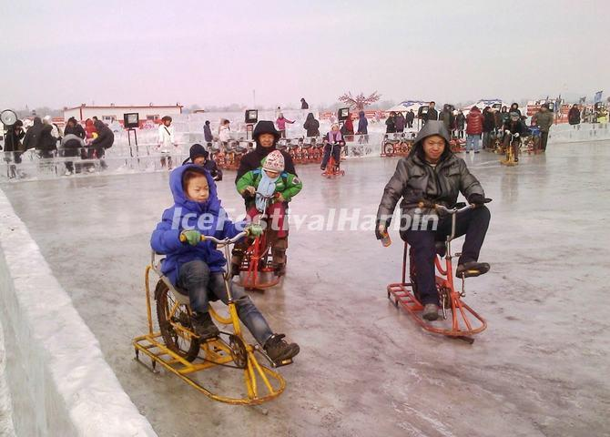 Ice Cycling at Harbin Songhua River Ice and Snow Happy Valley