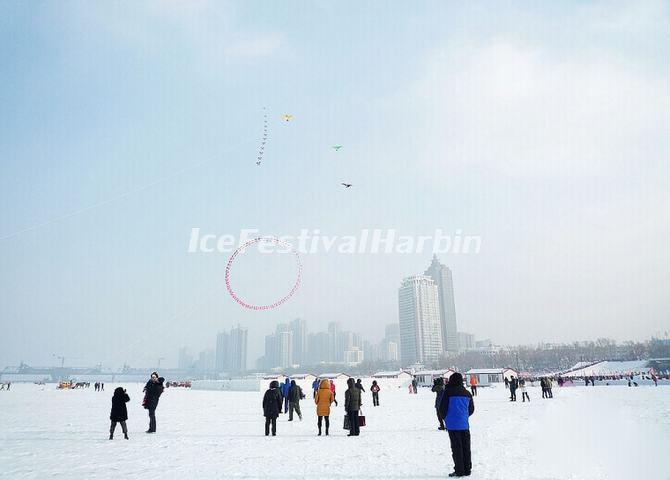 The Harbin Locals Flying Kites to Celebrate 2014 Ice Festival