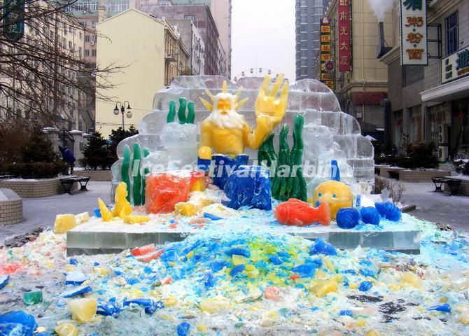 The Colored Ice Sculptures in Harbin Zhong Yang Street