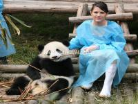 Photo with a Panda in Chengdu Research Base of Giant Panda Breeding