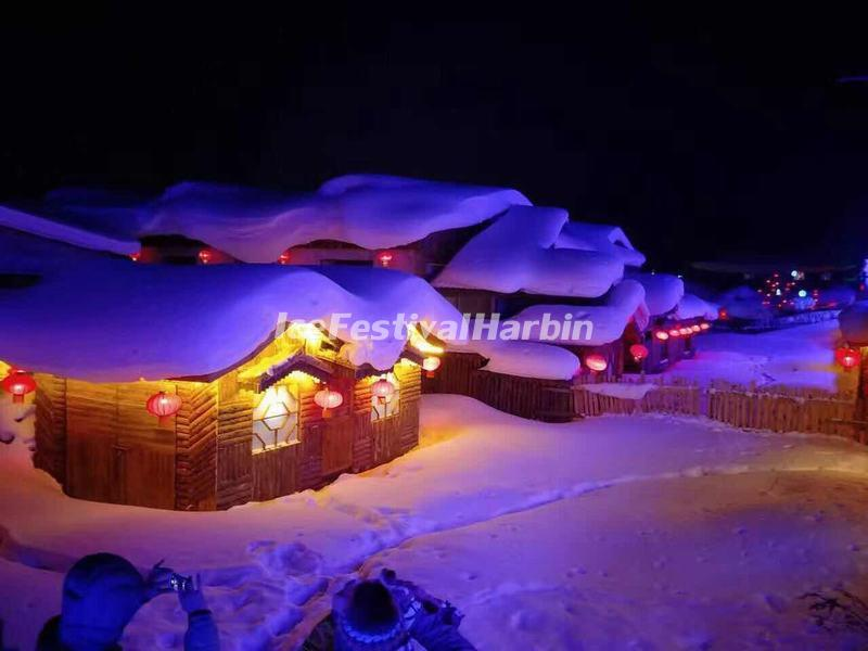 Night Scene of China's Snow Town