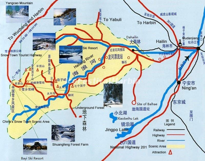 Chinas Snow Town Tourist Map Chinas Snow Town Photos