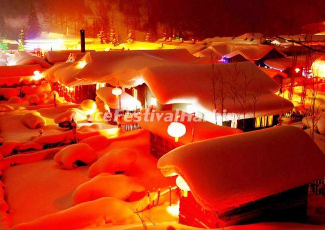 The Beautiful Night Scene of China's Snow Town