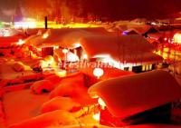 Night Scene in China's Snow Town