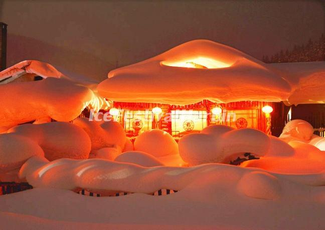 China's Snow Town in the Evening