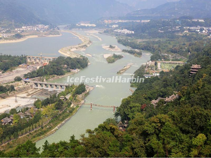 An Overlook at Dujiangyan Irrigation System