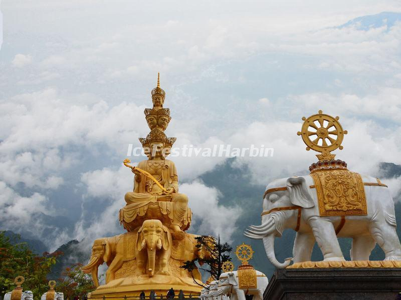 Massive Statue of Samantabhadra at the Summit of Mount Emei