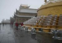 A temple at the Golden Summit of Emei Mountain