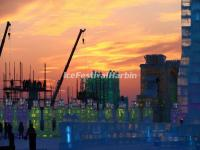 Sunset Over Harbin Ice and Snow World 2015