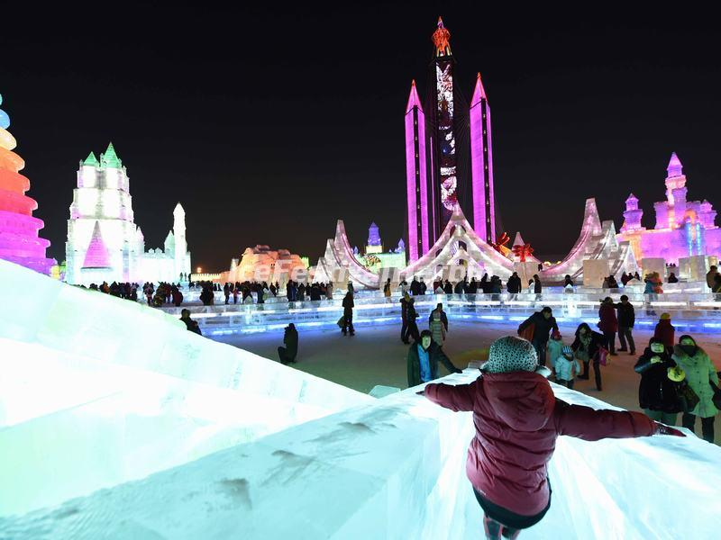 Night View of Harbin Ice and Snow World 2015