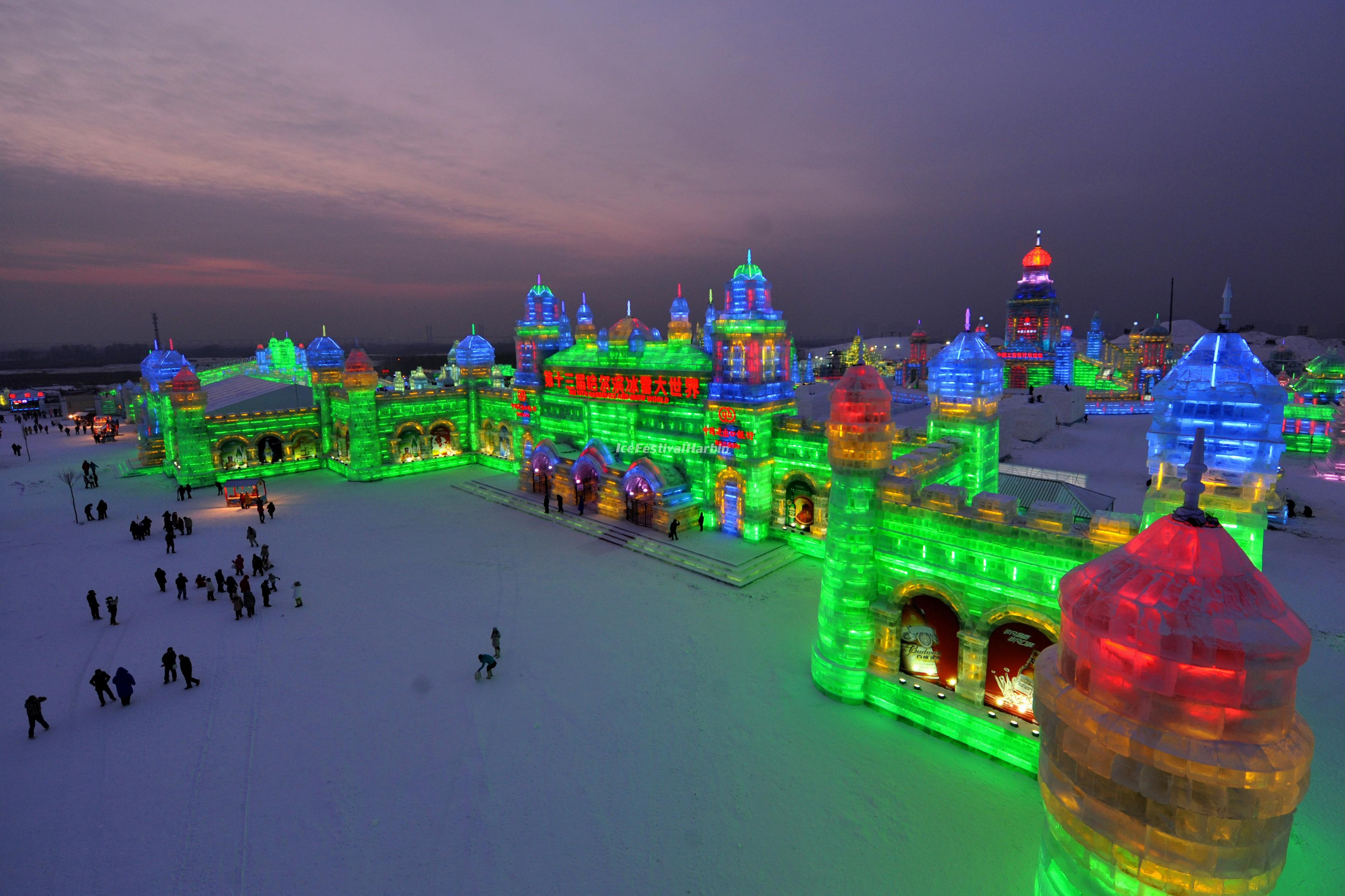 Harbin Ice Festival in the Evening