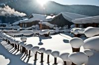 Wooden Houses in China's Snow Town
