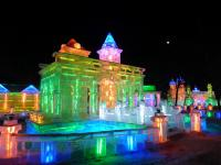 Illuminated Ice Buildings in Harbin Ice Festival