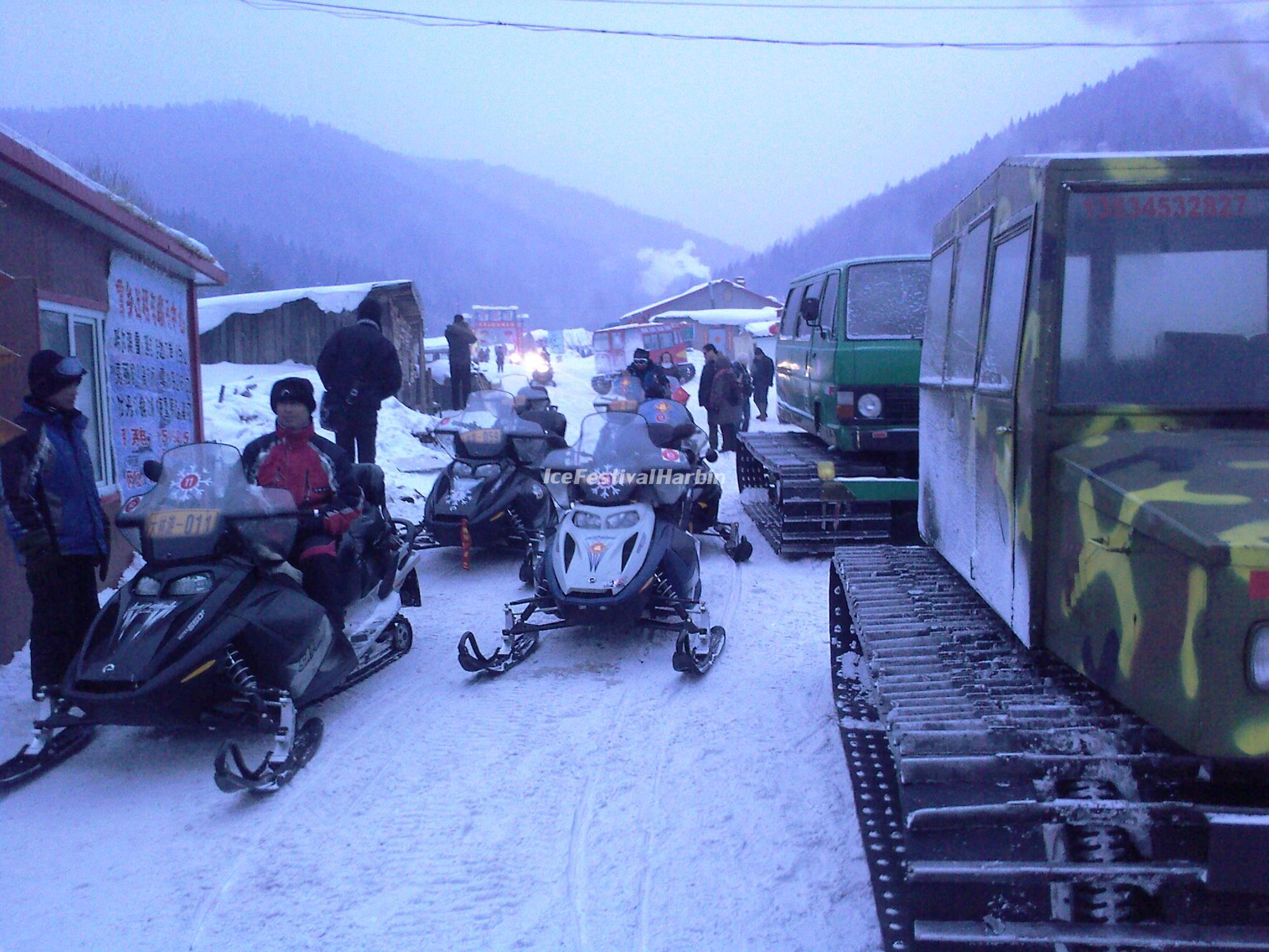 Snowmobiles in China's Snow Town