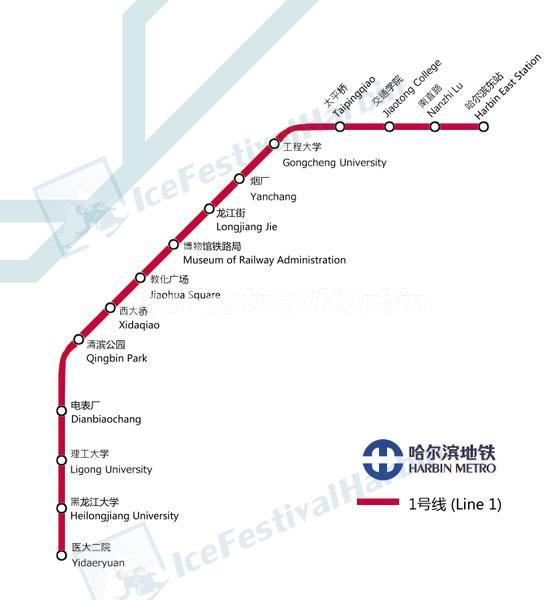 Harbin Metro Map Line 1
