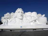 Harbin Sun Island Snow Sculpture - Newton and the Apple