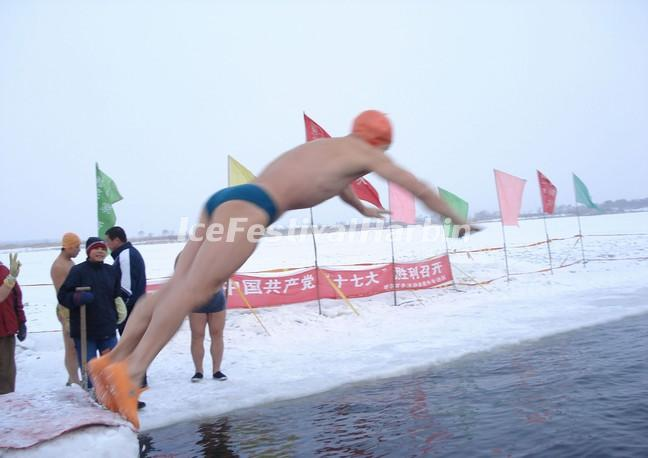 Winter Swimming Performance Harbin China