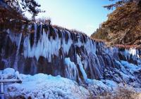 Jiuzhaigou Valley Nuorilang Waterfall in Winter