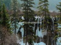 Jiuzhaigou Valley Nuorilang Waterfall in Snow
