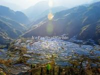 Laohuzui Rice Terraces in the Morning Sun