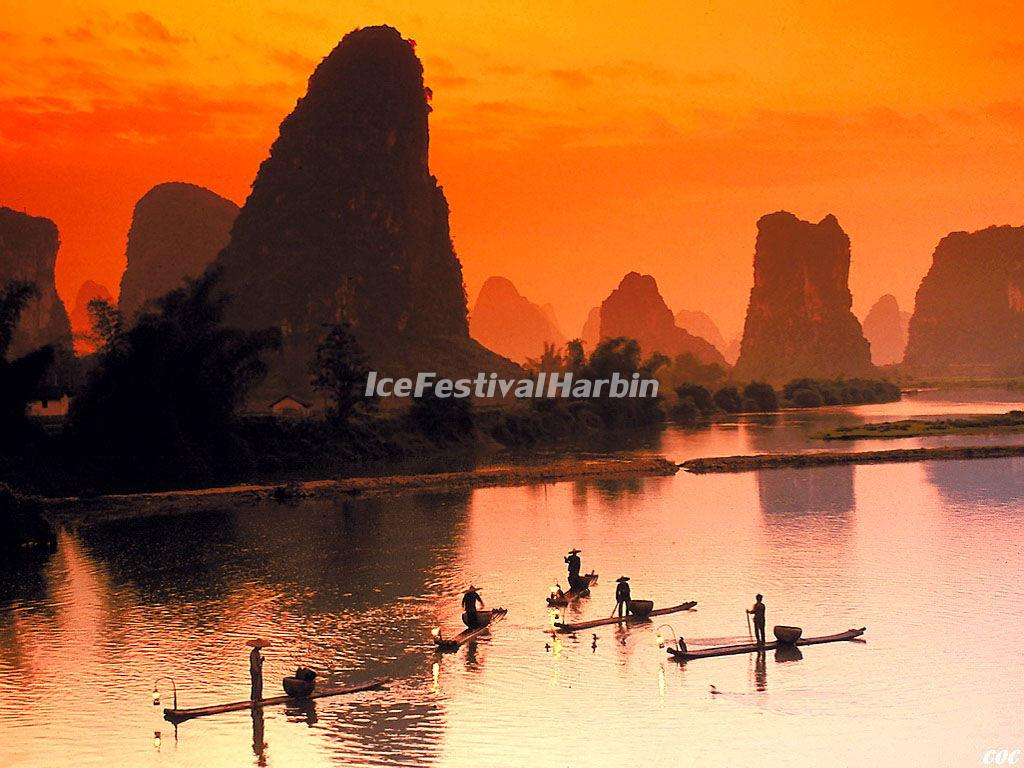 Sunglow over Guilin Li River