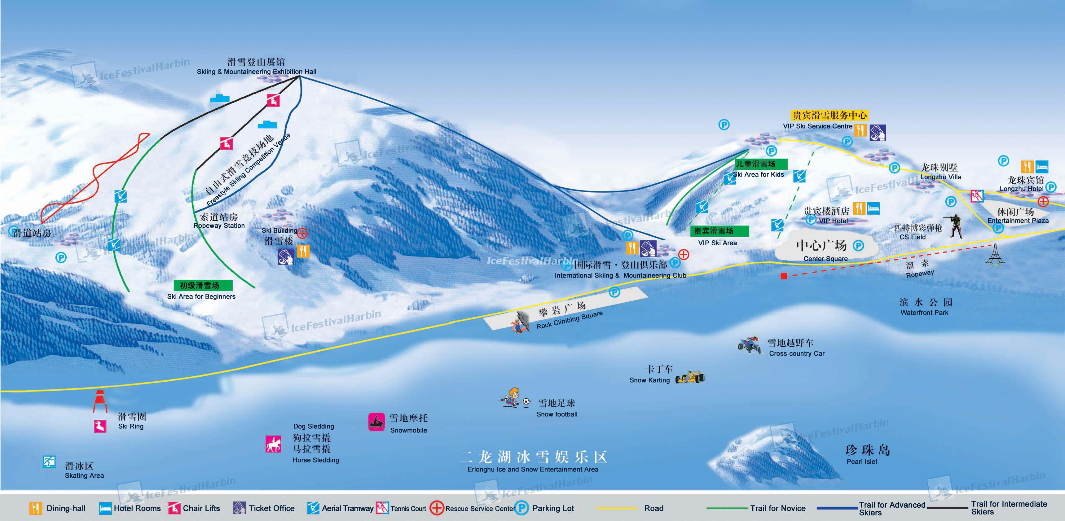 Longzhu Erlongshan Ski Resort Map