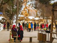 Tourists Visit Mounigou Valley in Winter