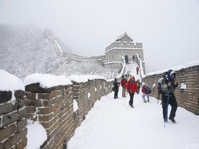 Mutianyu Great Wall Hiking in Winter