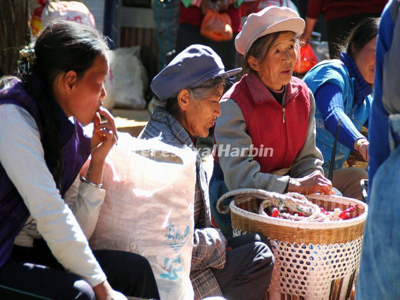 The Old Women in A Fair Day of Shaxi Ancient Town