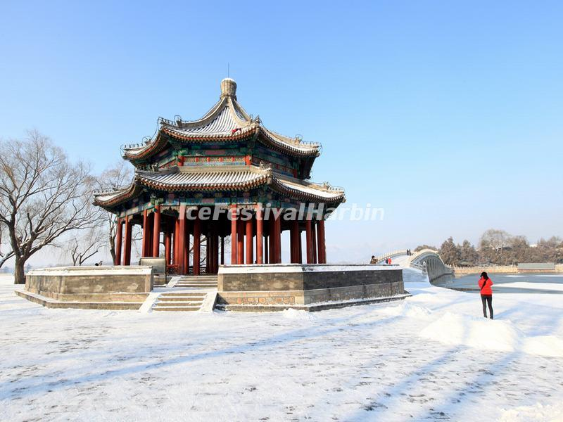 Summer Palace Pavilion and Snow