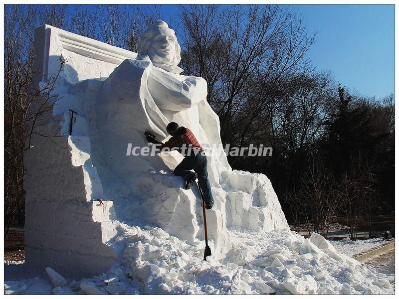Make Snow Sculptures in Harbin