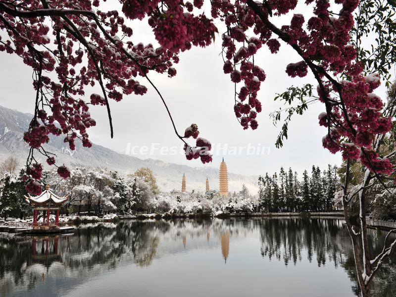 Three Pagodas of Chongsheng Temple in Snow
