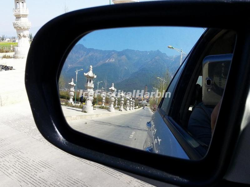Three Pagodas of Chongsheng Temple in Driving-mirror