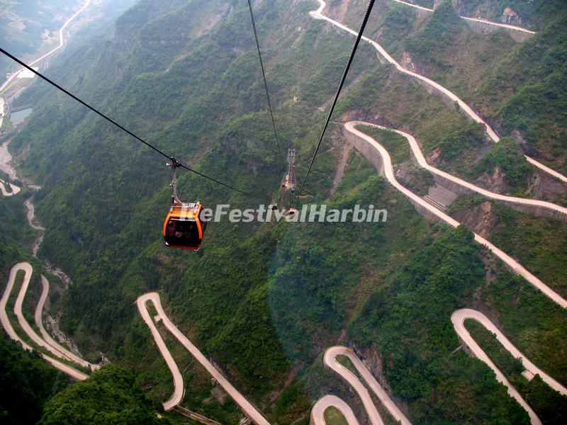 A View of the Heaven-Linking Avenue in Tianmen Mountain