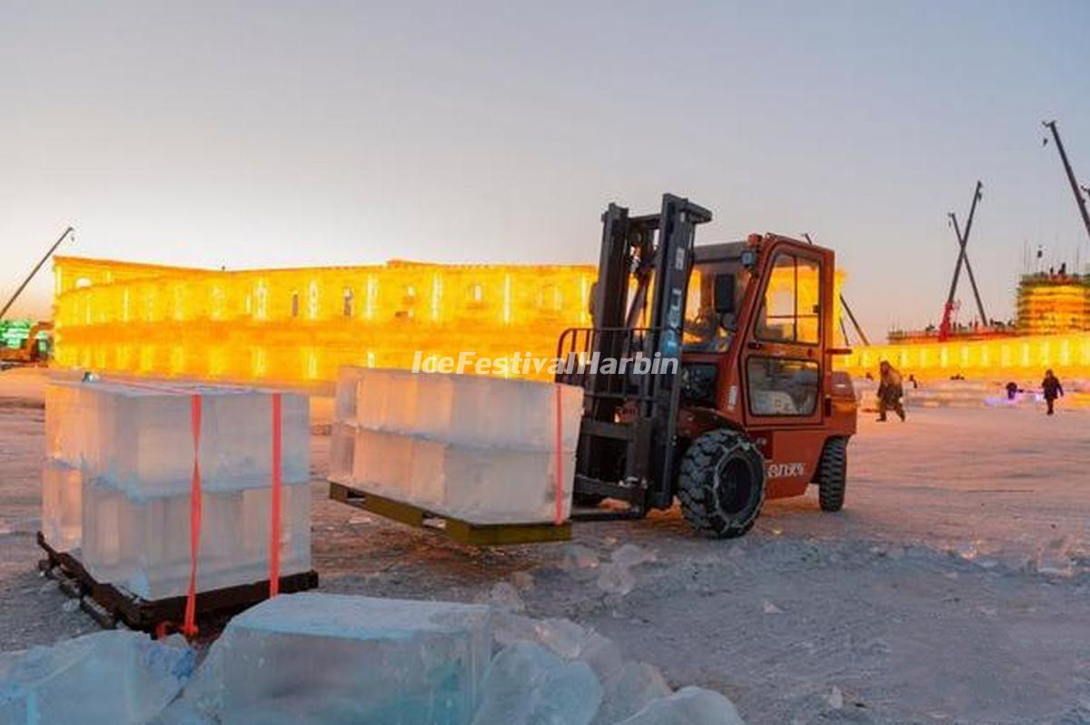 Workers Work at Construction Site of 2021 Harbin Ice and Snow World