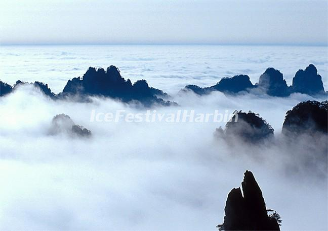 sea of clouds over the yellow mountain