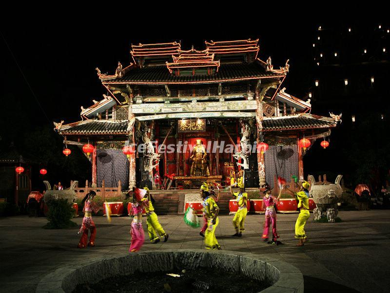 Zhangjiajie Tujia Folk Custom Park Night Scene