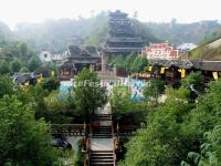 An Overlook at the Zhangjiajie Tujia Folk Custom Park