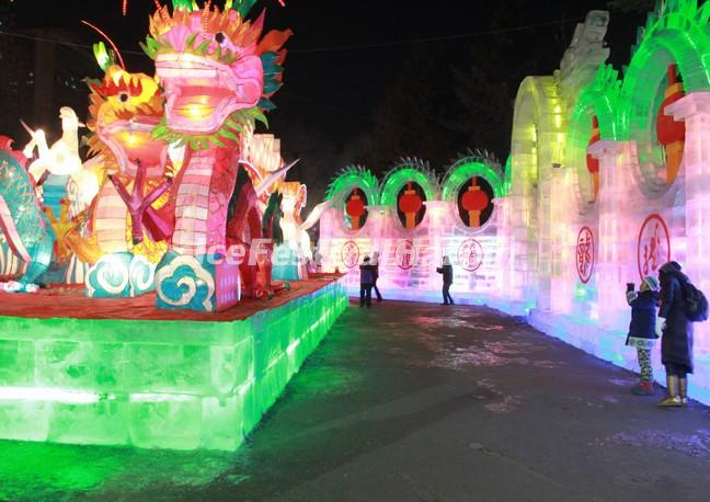 The Ice Lantern Show in Harbin Zhaolin Park During the Ice Festival