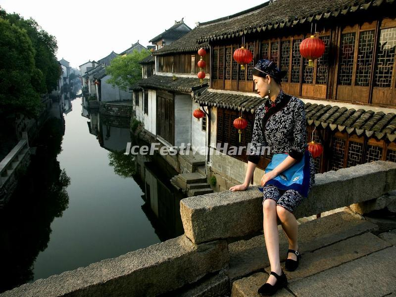 A Girl in Zhouzhuang Water Town